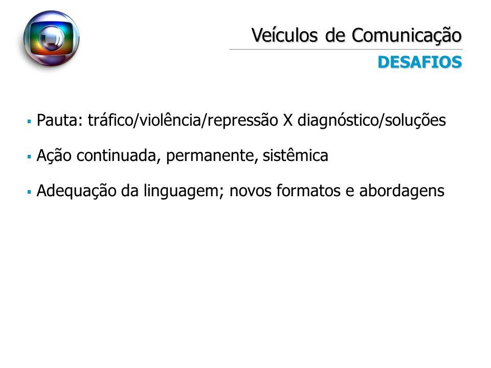 Veículos de Comunicação DESAFIOS Pauta: tráfico/violência/repressão X diagnóstico/soluções Ação continuada, permanente, sistêmica Adequação da linguag