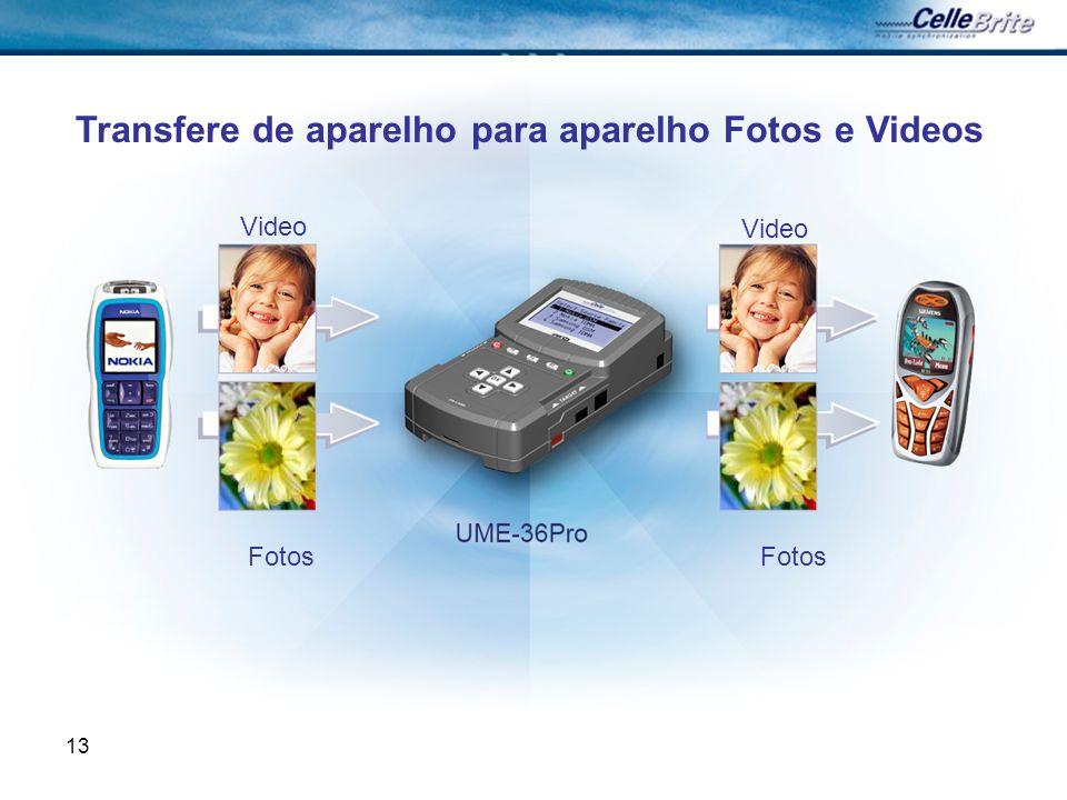 13 Transfere de aparelho para aparelho Fotos e Videos Video Fotos
