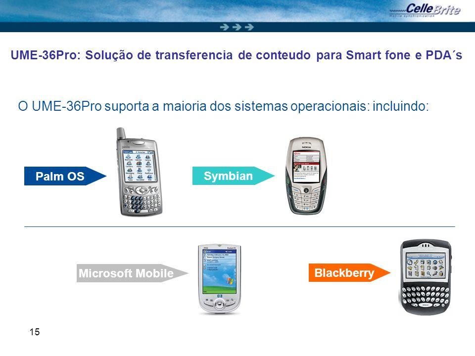 15 UME-36Pro: Solução de transferencia de conteudo para Smart fone e PDA´s O UME-36Pro suporta a maioria dos sistemas operacionais: incluindo: Palm OS