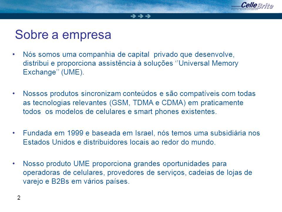 2 Sobre a empresa Nós somos uma companhia de capital privado que desenvolve, distribui e proporciona assistência à soluções Universal Memory Exchange