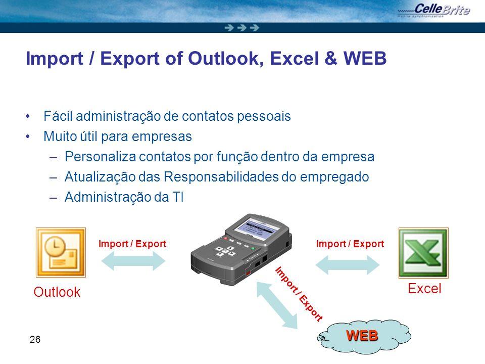 26 Import / Export of Outlook, Excel & WEB Fácil administração de contatos pessoais Muito útil para empresas –Personaliza contatos por função dentro d