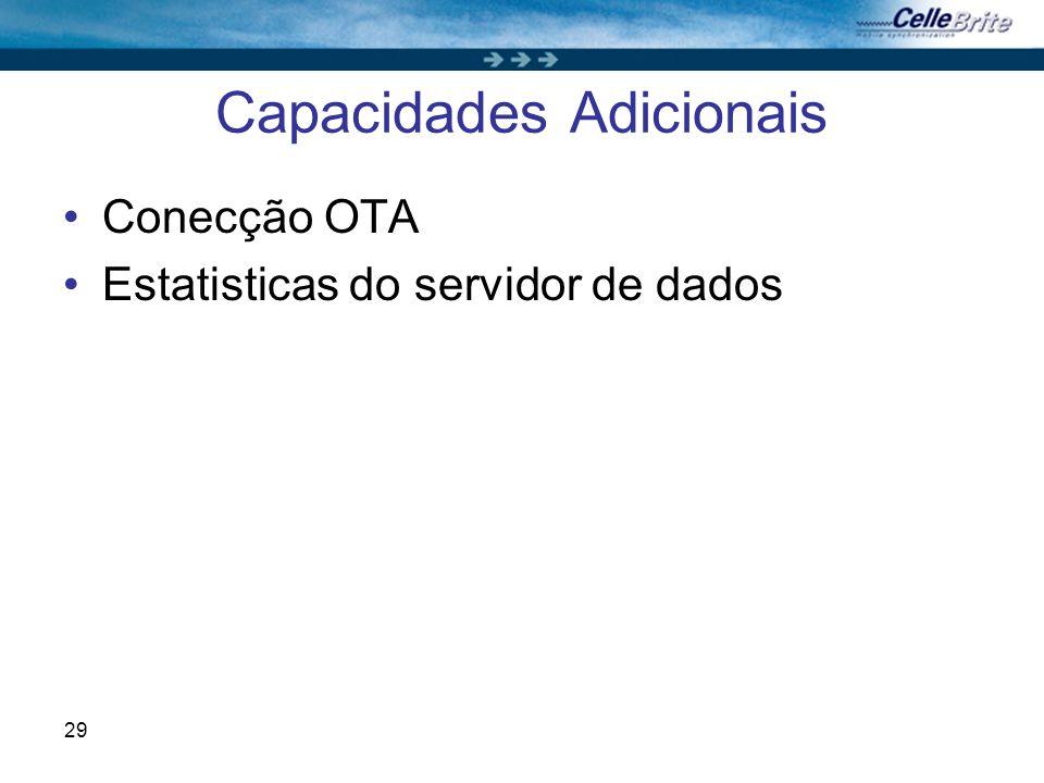 29 Capacidades Adicionais Conecção OTA Estatisticas do servidor de dados