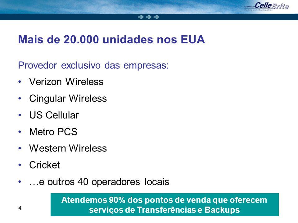 4 Mais de 20.000 unidades nos EUA Provedor exclusivo das empresas: Verizon Wireless Cingular Wireless US Cellular Metro PCS Western Wireless Cricket …