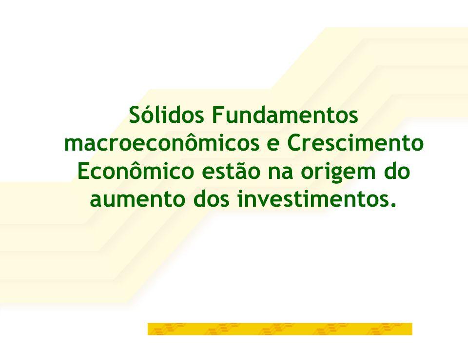 Sólidos Fundamentos macroeconômicos e Crescimento Econômico estão na origem do aumento dos investimentos.