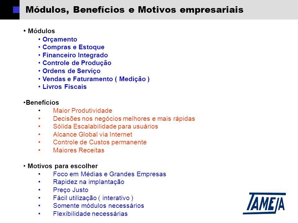 Módulos, Benefícios e Motivos empresariais Módulos Orçamento Compras e Estoque Financeiro Integrado Controle de Produção Ordens de Serviço Vendas e Fa