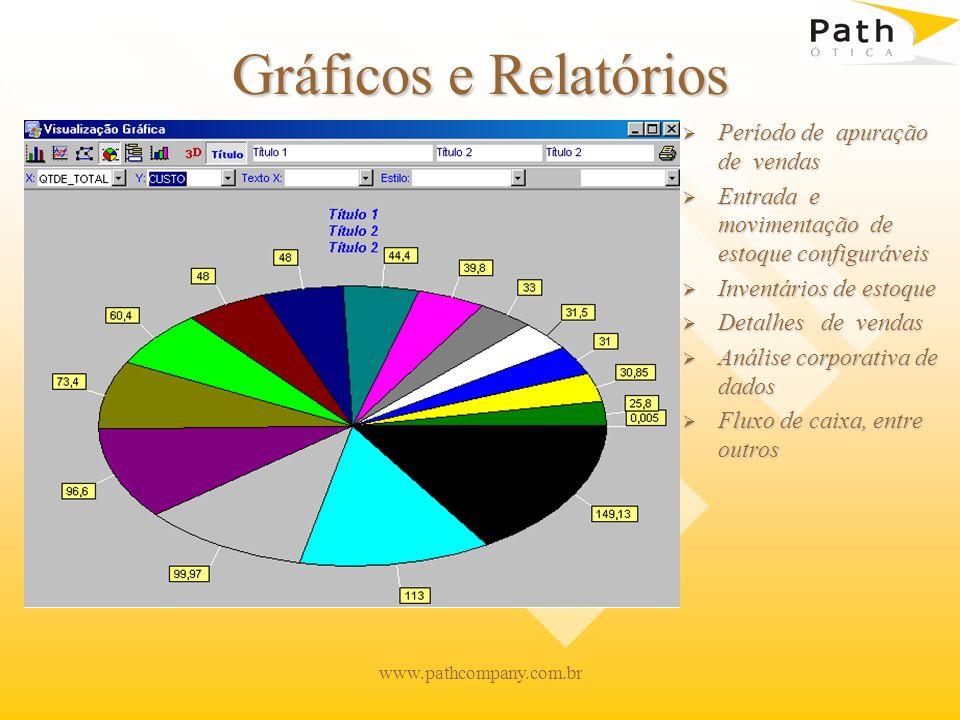 www.pathcompany.com.br Gráficos e Relatórios Período de apuração de vendas Entrada e movimentação de estoque configuráveis Inventários de estoque Deta