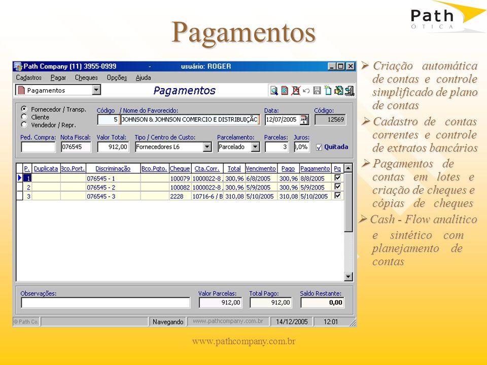 www.pathcompany.com.br Recebimentos Controle de comissões vinculadas a recebimentos Emissão de boletos e duplicatas parcelados Permite visualização de recebimentos agrupados por cliente Relatórios e gráficos agrupados por tipo de conta, cliente.