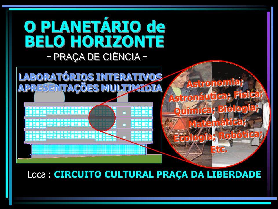 O PLANETÁRIO de BELO HORIZONTE O PLANETÁRIO de BELO HORIZONTE Local: CIRCUITO CULTURAL PRAÇA DA LIBERDADE = PRAÇA DE CIÊNCIA = Observações diretas atr