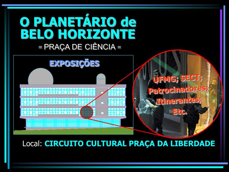 O PLANETÁRIO de BELO HORIZONTE O PLANETÁRIO de BELO HORIZONTE Local: CIRCUITO CULTURAL PRAÇA DA LIBERDADE = PRAÇA DE CIÊNCIA = LABORATÓRIOS INTERATIVO