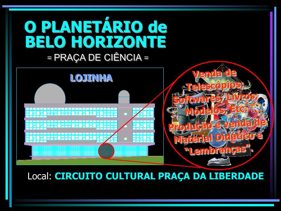 O PLANETÁRIO de BELO HORIZONTE O PLANETÁRIO de BELO HORIZONTE Local: CIRCUITO CULTURAL PRAÇA DA LIBERDADE = PRAÇA DE CIÊNCIA = EXPOSIÇÕESEXPOSIÇÕES UF