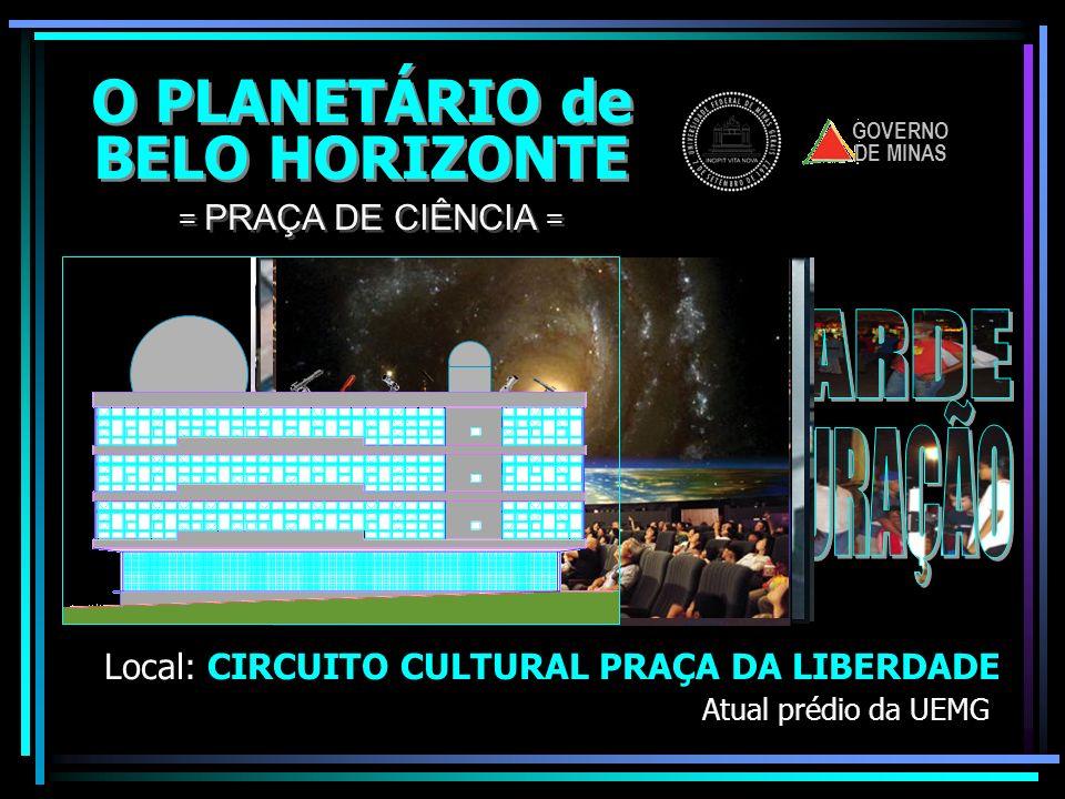 O PLANETÁRIO de BELO HORIZONTE O PLANETÁRIO de BELO HORIZONTE Local: CIRCUITO CULTURAL PRAÇA DA LIBERDADE = PRAÇA DE CIÊNCIA = LOJINHALOJINHA. Venda d