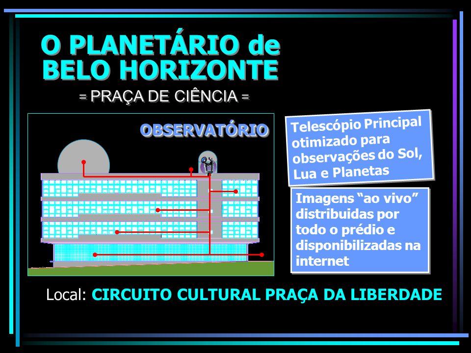 O PLANETÁRIO de BELO HORIZONTE O PLANETÁRIO de BELO HORIZONTE Local: CIRCUITO CULTURAL PRAÇA DA LIBERDADE = PRAÇA DE CIÊNCIA = 8,5m Sistema de projeçã