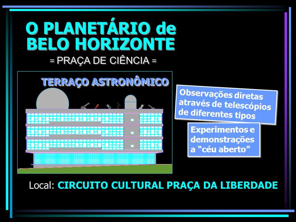 O PLANETÁRIO de BELO HORIZONTE O PLANETÁRIO de BELO HORIZONTE Local: CIRCUITO CULTURAL PRAÇA DA LIBERDADE = PRAÇA DE CIÊNCIA = Telescópio Principal ot
