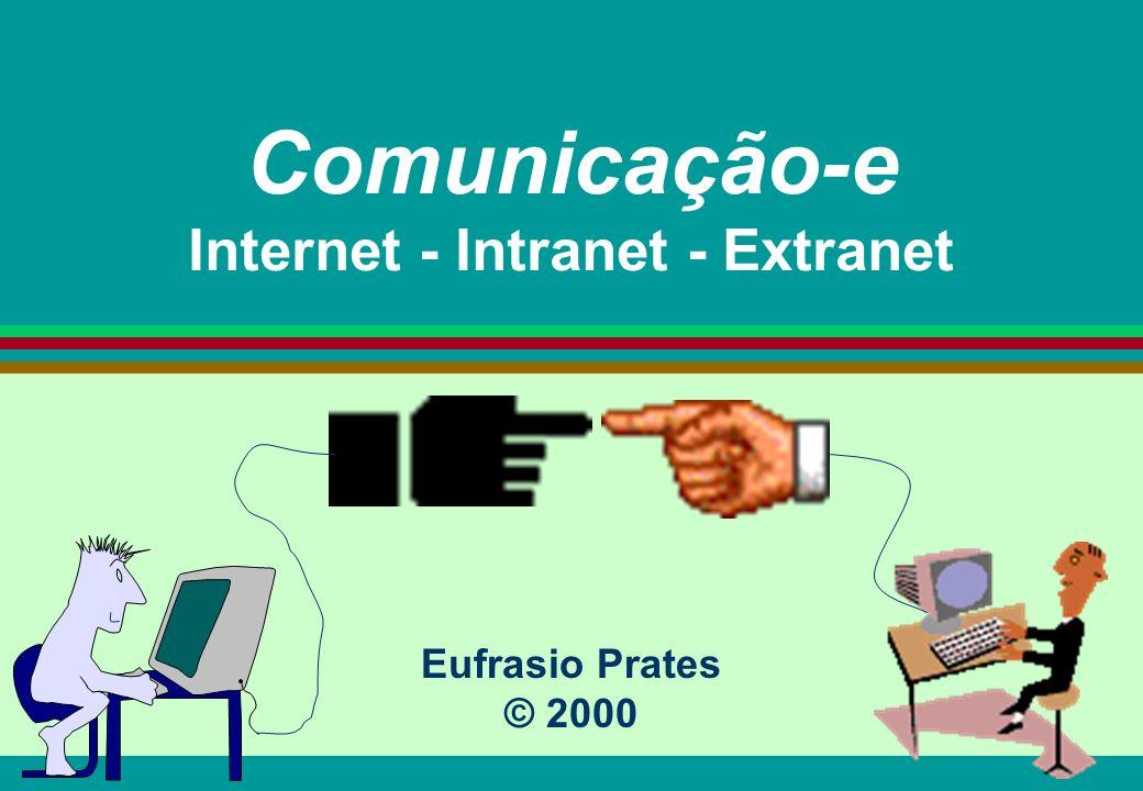 Eufrasio Prates2 Estrutura/objetivos l Conceitos e cenário (compreender) l Histórico da Internet (conhecer) l Ferramentas (compreender) l Aplicações (conhecer) B2B - EDI (Extranet) B2C - CRM (Internet) C2C - Ciberleilões B2E - Teletrabalho (Intranet)