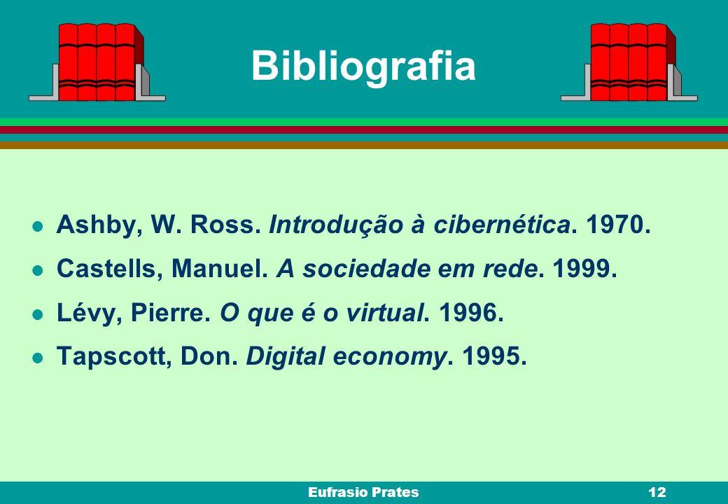 Eufrasio Prates12 Bibliografia l Ashby, W. Ross. Introdução à cibernética. 1970. l Castells, Manuel. A sociedade em rede. 1999. l Lévy, Pierre. O que