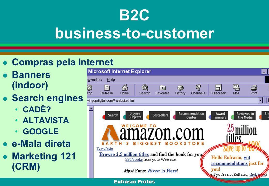 Eufrasio Prates9 B2C business-to-customer l Compras pela Internet l Banners (indoor) l Search engines CADÊ? ALTAVISTA GOOGLE l e-Mala direta Marketing