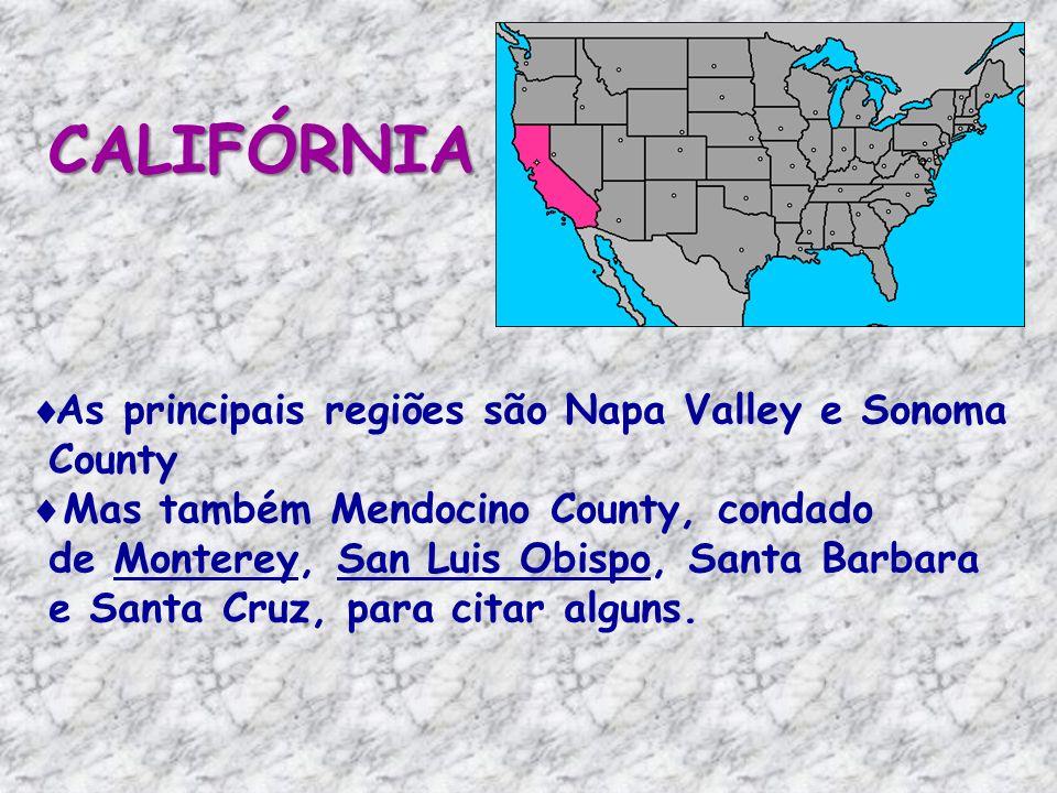 As principais regiões são Napa Valley e Sonoma County Mas também Mendocino County, condado de Monterey, San Luis Obispo, Santa Barbara e Santa Cruz, para citar alguns.