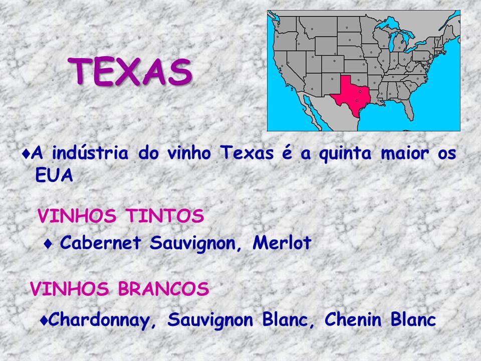 TEXAS A indústria do vinho Texas é a quinta maior os EUA VINHOS TINTOS VINHOS BRANCOS Cabernet Sauvignon, Merlot Chardonnay, Sauvignon Blanc, Chenin Blanc