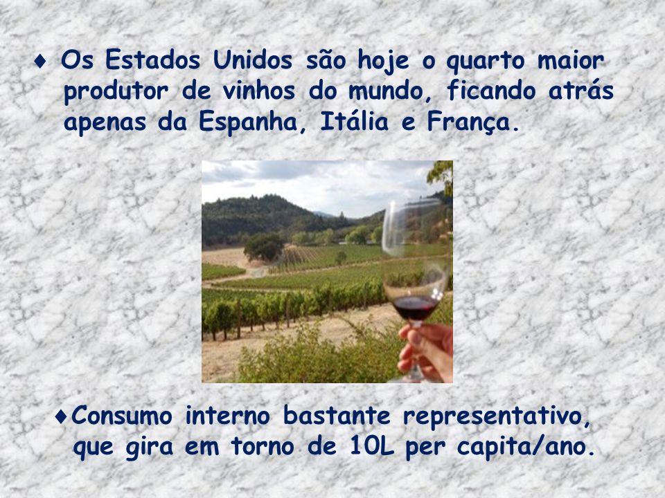Os Estados Unidos são hoje o quarto maior produtor de vinhos do mundo, ficando atrás apenas da Espanha, Itália e França.