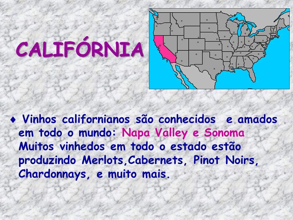Vinhos californianos são conhecidos e amados em todo o mundo: Napa Valley e Sonoma Muitos vinhedos em todo o estado estão produzindo Merlots,Cabernets, Pinot Noirs, Chardonnays, e muito mais.