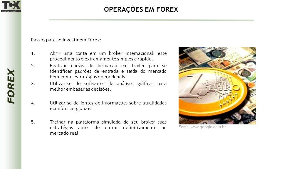 FOREX Passos para se investir em Forex: 1.Abrir uma conta em um broker internacional: este procedimento é extremamente simples e rápido. 2.Realizar cu