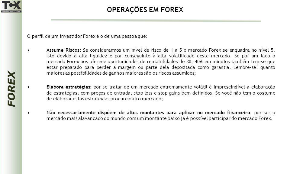 FOREX O perfil de um investidor Forex é o de uma pessoa que: Assume Riscos: Se considerarmos um nível de risco de 1 a 5 o mercado Forex se enquadra no nível 5.