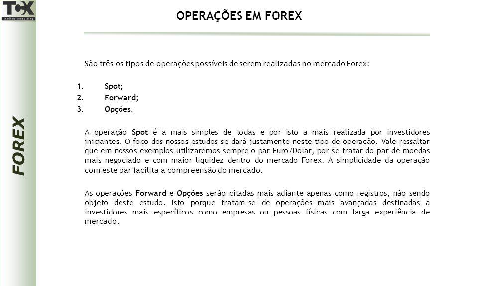 FOREX São três os tipos de operações possíveis de serem realizadas no mercado Forex: 1.Spot; 2.Forward; 3.Opções. A operação Spot é a mais simples de