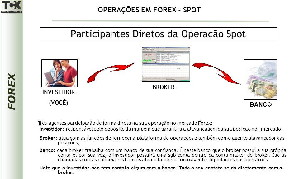 FOREX Participantes Diretos da Operação Spot Banco: cada broker trabalha com um banco de sua confiança.