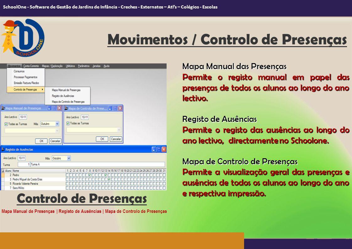 Controlo de Presenças Mapa Manual das Presenças Permite o registo manual em papel das presenças de todos os alunos ao longo do ano lectivo. Registo de