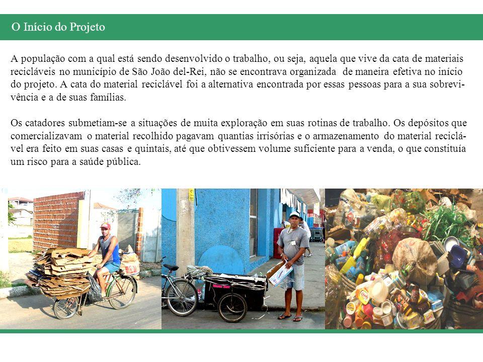 A população com a qual está sendo desenvolvido o trabalho, ou seja, aquela que vive da cata de materiais recicláveis no município de São João del-Rei,
