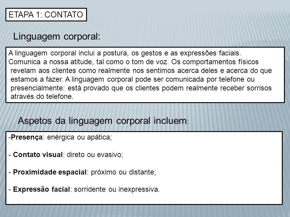 ETAPA 1: CONTATO Linguagem corporal: A linguagem corporal inclui a postura, os gestos e as expressões faciais. Comunica a nossa atitude, tal como o to