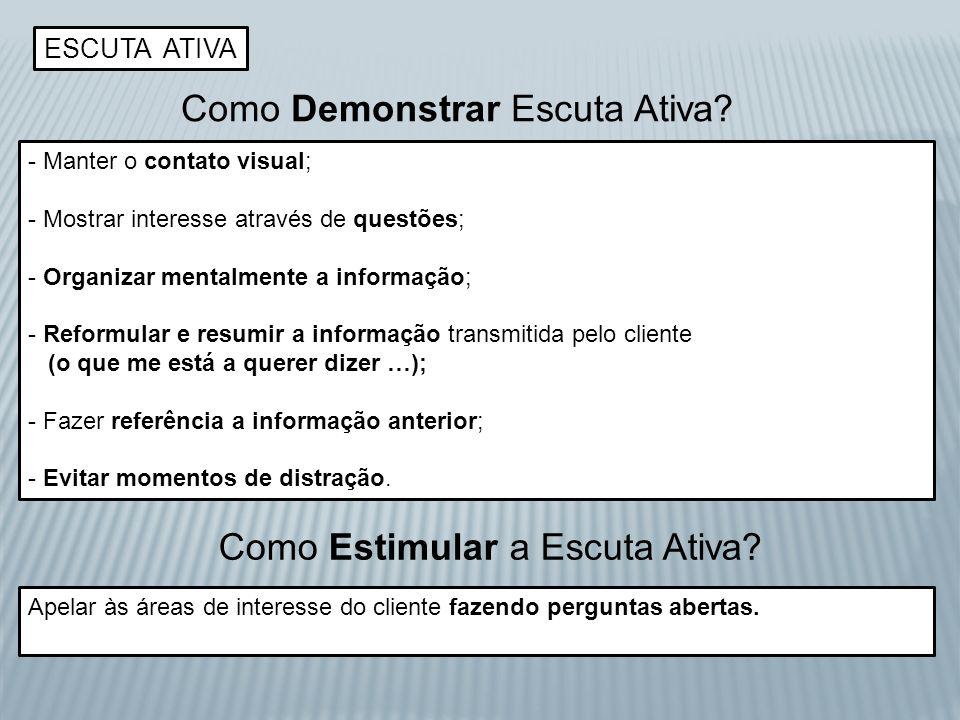 ESCUTA ATIVA Como Demonstrar Escuta Ativa? - Manter o contato visual; - Mostrar interesse através de questões; - Organizar mentalmente a informação; -