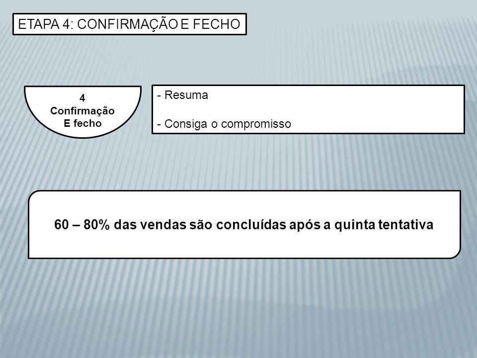 ETAPA 4: CONFIRMAÇÃO E FECHO 4 Confirmação E fecho - Resuma - Consiga o compromisso 60 – 80% das vendas são concluídas após a quinta tentativa