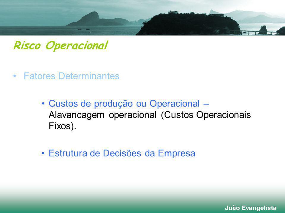 Risco Operacional Fatores Determinantes Custos de produção ou Operacional – Alavancagem operacional (Custos Operacionais Fixos).