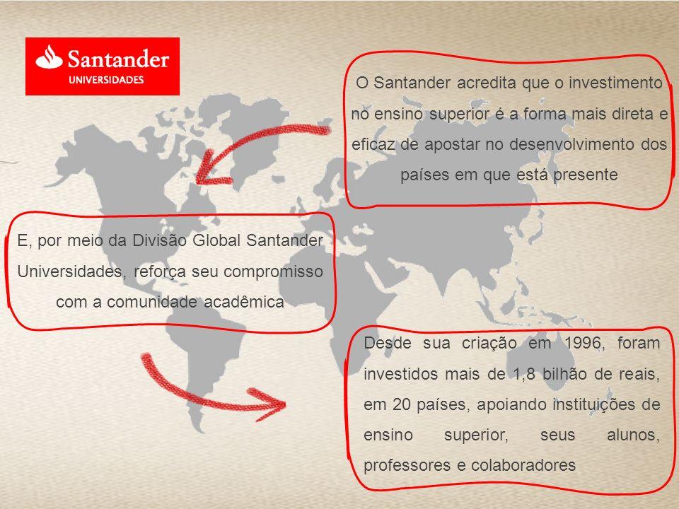 O Santander acredita que o investimento no ensino superior é a forma mais direta e eficaz de apostar no desenvolvimento dos países em que está present