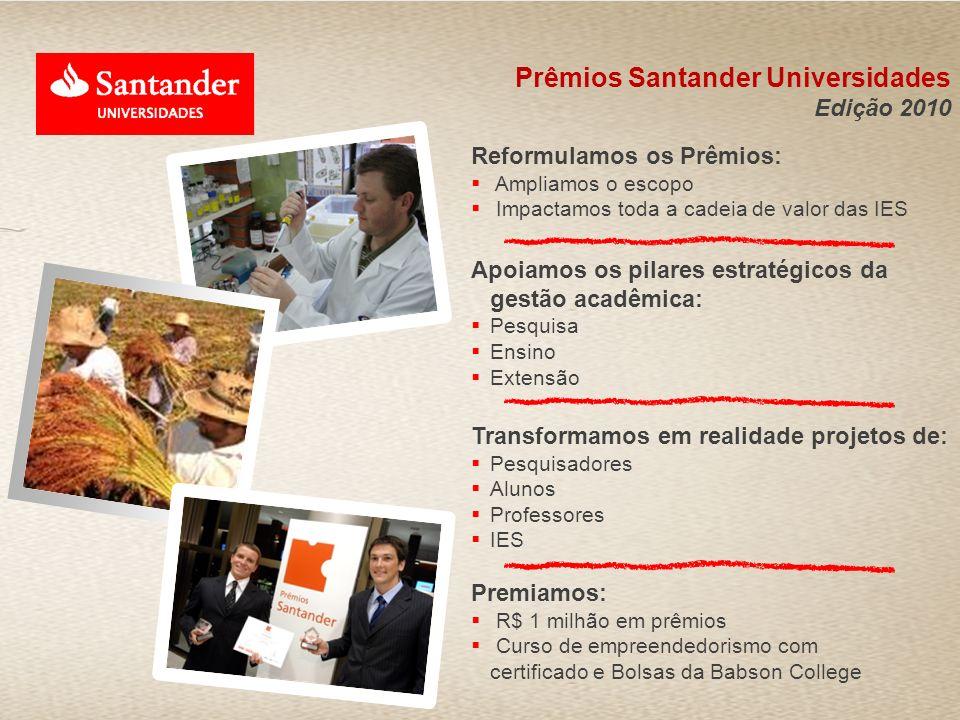 Prêmios Santander Universidades Edição 2010 Reformulamos os Prêmios: Ampliamos o escopo Impactamos toda a cadeia de valor das IES Apoiamos os pilares