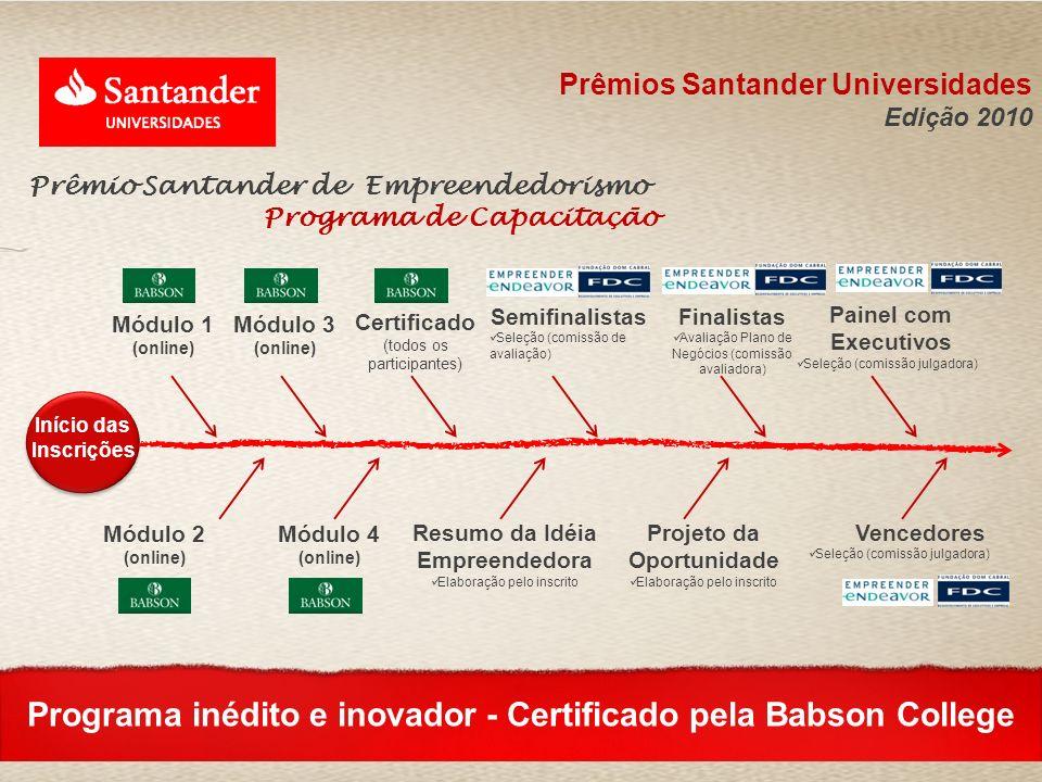 Módulo 1 (online) Certificado (todos os participantes) Semifinalistas Seleção (comissão de avaliação) Projeto da Oportunidade Elaboração pelo inscrito