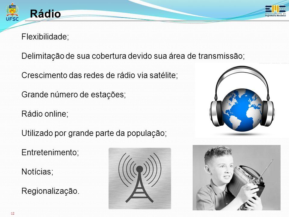 12 Flexibilidade; Delimitação de sua cobertura devido sua área de transmissão; Crescimento das redes de rádio via satélite; Grande número de estações; Rádio online; Utilizado por grande parte da população; Entretenimento; Notícias; Regionalização.