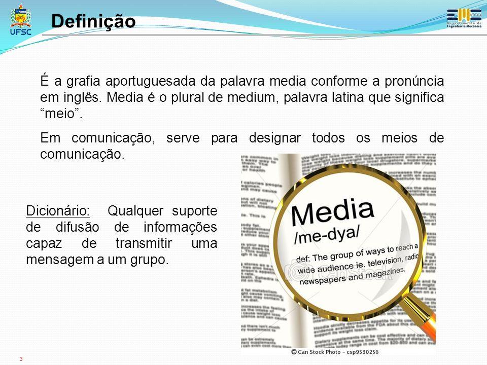 3 É a grafia aportuguesada da palavra media conforme a pronúncia em inglês.