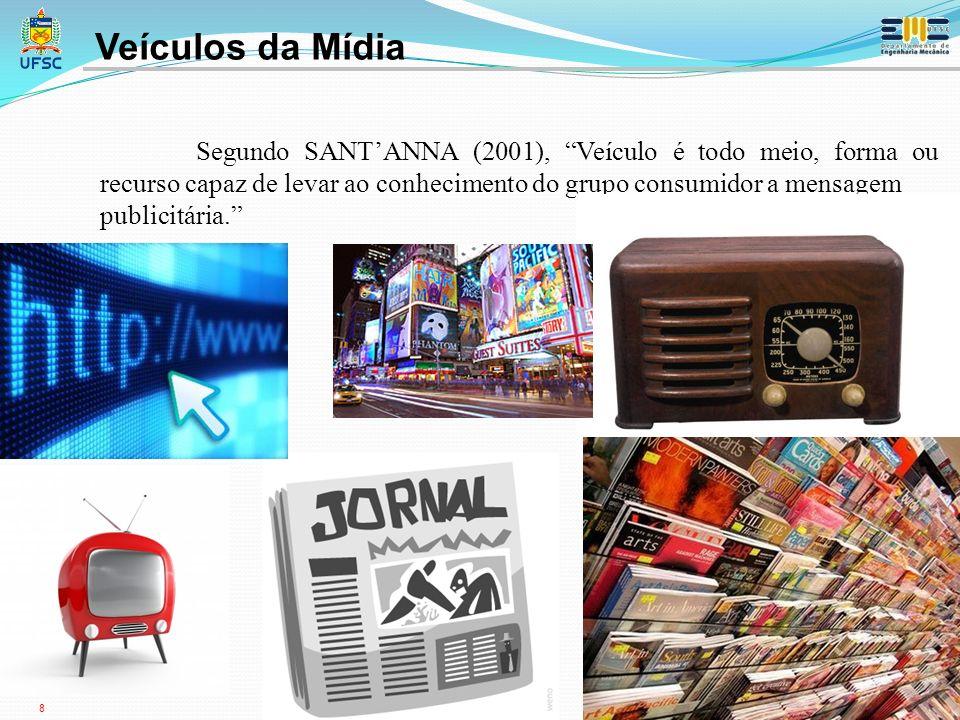8 Segundo SANTANNA (2001), Veículo é todo meio, forma ou recurso capaz de levar ao conhecimento do grupo consumidor a mensagem publicitária.