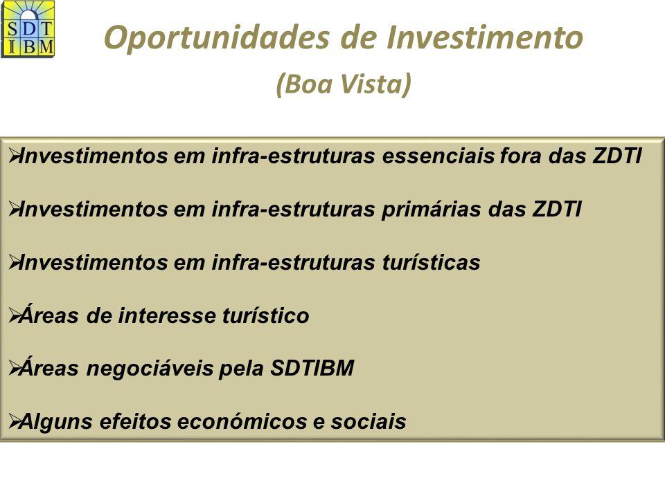 Oportunidades de Investimento Investimentos em infra-estruturas essenciais fora das ZDTI (Boa Vista) Infra-estruturas Aeroporto (expansão) Porto (expansão) Via estruturante Energia e água Resíduos sólidos Habitaç.