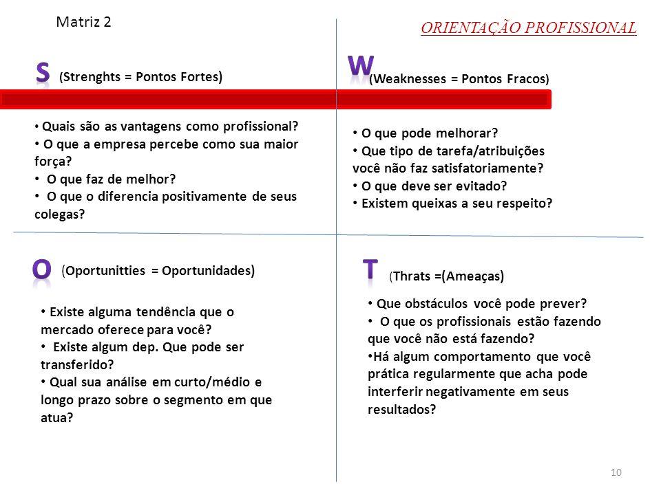 ORIENTAÇÃO PROFISSIONAL ( Strenghts = Pontos Fortes) (Oportunitties = Oportunidades) ( Weaknesses = Pontos Fracos ) ( Thrats =(Ameaças) Matriz 2 Quais