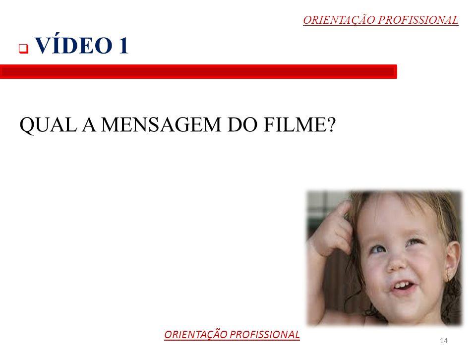 VÍDEO 1 14 QUAL A MENSAGEM DO FILME? ORIENTAÇÃO PROFISSIONAL