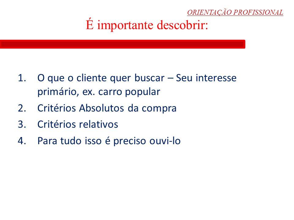 ORIENTAÇÃO PROFISSIONAL É importante descobrir: 1.O que o cliente quer buscar – Seu interesse primário, ex. carro popular 2.Critérios Absolutos da com