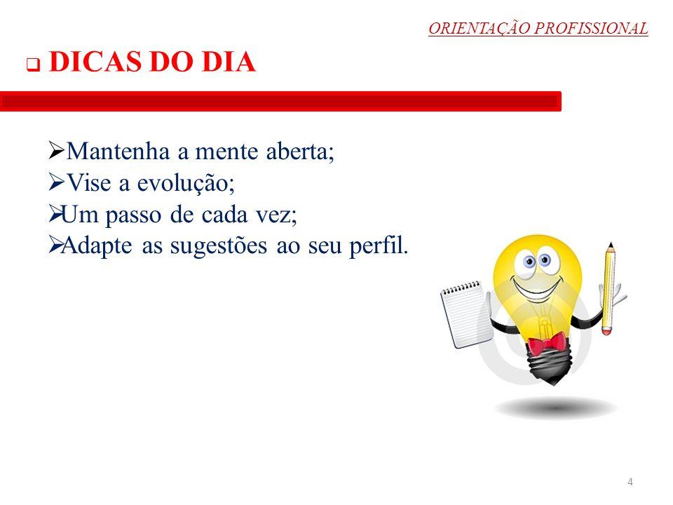 ORIENTAÇÃO PROFISSIONAL 5 Quem não vê o que precisa mudar, nunca terá o privilégio de encontrar a solução...