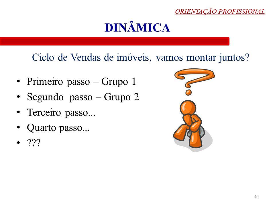 ORIENTAÇÃO PROFISSIONAL DINÂMICA Primeiro passo – Grupo 1 Segundo passo – Grupo 2 Terceiro passo... Quarto passo... ??? 40 Ciclo de Vendas de imóveis,