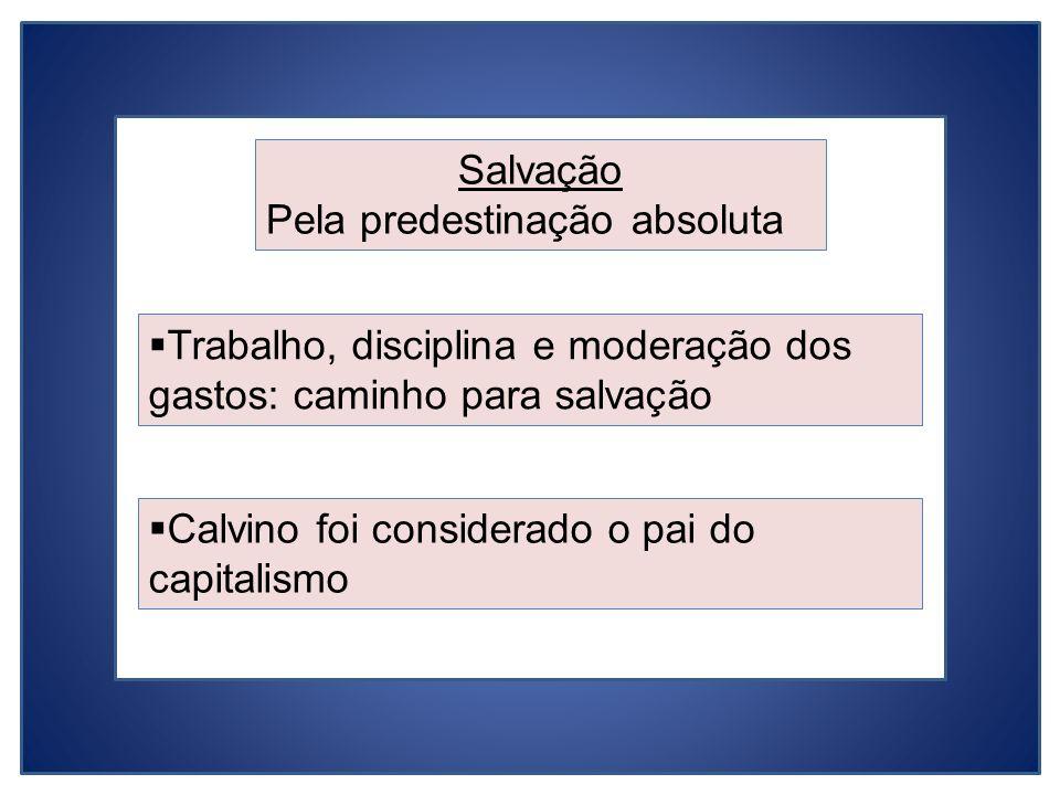 Salvação Pela predestinação absoluta Calvino foi considerado o pai do capitalismo Trabalho, disciplina e moderação dos gastos: caminho para salvação