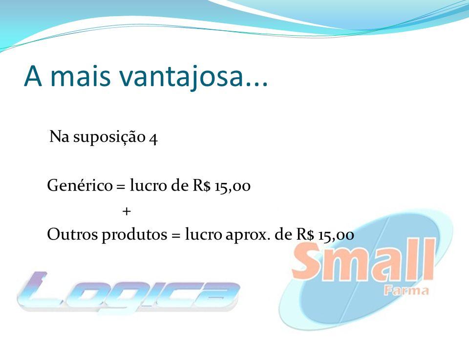 A mais vantajosa... Na suposição 4 Genérico = lucro de R$ 15,00 + Outros produtos = lucro aprox. de R$ 15,00
