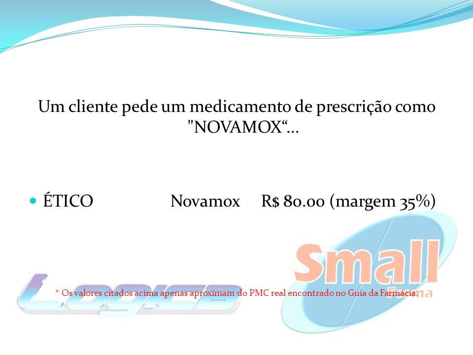 ÉTICONovamox R$ 80.00 (margem 35%) * Os valores citados acima apenas aproximam do PMC real encontrado no Guia da Farmácia.