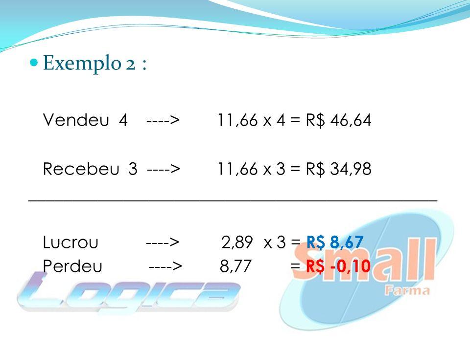 Exemplo 2 : Vendeu 4 ---->11,66 x 4 = R$ 46,64 Recebeu 3 ----> 11,66 x 3 = R$ 34,98 ________________________________________________ Lucrou ----> 2,89 x 3 = R$ 8,67 Perdeu ----> 8,77 = R$ -0,10